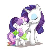 Rarity + Sweetie Belle by mysticalpha