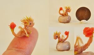 Rose Quartz the Micro Miniature Dragon by wibblequibble