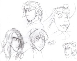 Disney Dudes Sketches by InvaderSonicMx