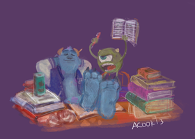 Study time at Monsters University by Springkiwi