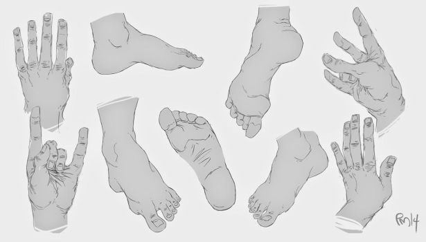 hand feet sketches by SomethingEveryDay