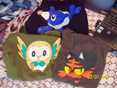 All my Alola starter shirts by SusanLucarioFan16