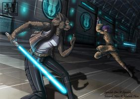 Commission - Lightsaber Duel by Hedrick-CS
