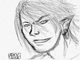 iPad sketch #1: Elf by Exvnir