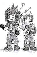 Zack and Cloud Chibi styled? by stormstrife16
