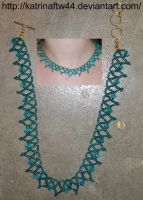 Teal and blue necklace by KatrinaFTW44
