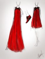 The  long straight red dress by LDBussell