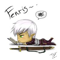 Chibi Fenris is Reading by talespirit