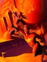 Comrade Hero and Graviton Girl by heozART