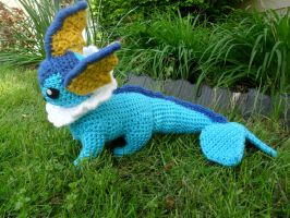 Crocheted Vaporeon Side View- COMMISSIONS OPEN by Kitorahoshi