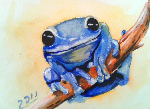 blue advice frog by nupharHALL
