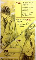My Time table for the new semester by pzs186
