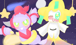 Hoopa and Jirachi by cuteprincesspiplup
