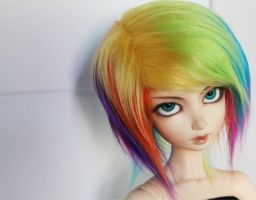 rainbow wig by MonstroDesigns