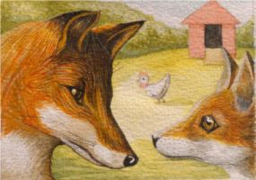 Lessons In Fox Life ACEO (Sold) by Ezekiel-J