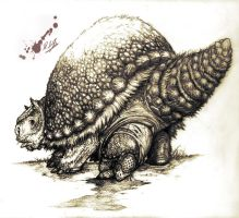 Glyptodon giving birth by Rodrigo-Vega