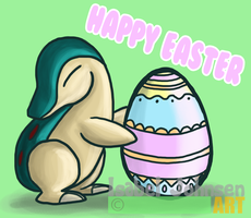 Cyndaquil Wishes you a Happy Easter by issabissabel