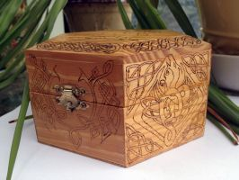 Wood Burned Celtic Dragon Box by FaerieForgeDesign