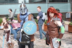 skyrim Guard and Aela the huntress - MCM Expo by x-Montsegur-x