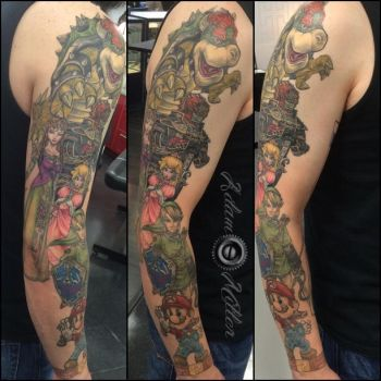 Mario/Zelda Nintendo sleeve progress by adammdesigns