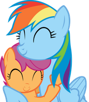 Rainbow Dash and Scootaloo - Snuggle! by RainbowPlasma