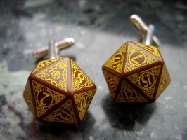 Steampunk dice cufflinks by kickthebucket