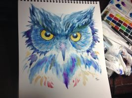 Owl-Watercolor by ArianeVass