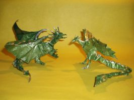 Origami Dragon and Phoenix by haomaru87
