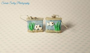 Miniature Fish Tank Earrings by CharmStop