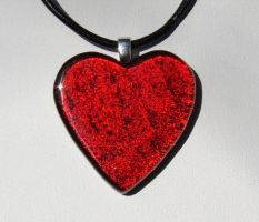 Red Heart Glass Reflected by FusedElegance