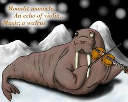 Classy Walrus Violinist by wee-free-fayries