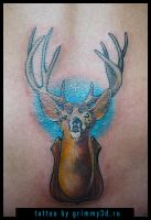 Deer mule taxidermy tattoo by grimmy3d