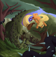 Applejack vs. Cragodile by Bakuel