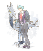 Steven Stone with his Skarmory by Touko97