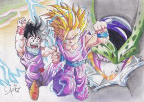 GOHAN VS CELL by J-S-S-C