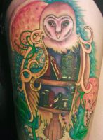 Fantastical Book Owl Tattoo by Lucky101212