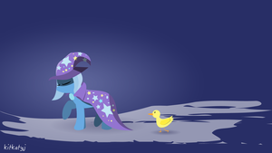 Trixie and her pet duckling by kitkatyj