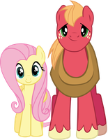 Fluttershy and Big Macintosh - Vector 2 by BobtheLurker