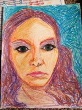 self portriat in crayon by musicsuperspaz