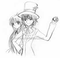 Mad Hatter and Alice sketch by Eilyn-Chan