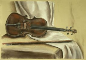 Still life with violin by Cunami-in-october