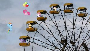 Mane 6 On A Ferris Wheel by Macgrubor