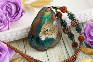 Jaguar I - handmade painted stone pendant by LunarFerns