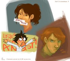 hogwarts trio betch fights. by flominowa