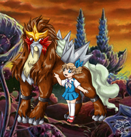 AT: Entei and Molly by tigersylveon