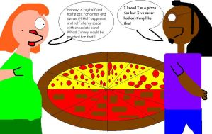Arlene and Myles goes for a big 1/2 and 1/2 pizza by mylesterlucky7