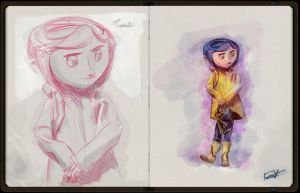 Coraline Sketch Book Pages by kineticforrest