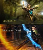 Spellthief Lux and Nottingham Ezreal by skyxeanz