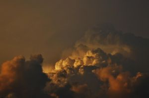Stock Enviroment--Sunset Cumulonimbus Clouds by SpiderMilkshake