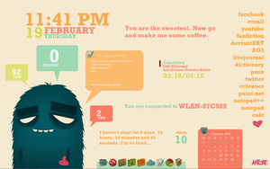 Rainmeter Adorable Monster (Desktop Setup) by cloudedhearts